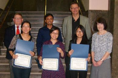Xinyue Liu (bottom row, left) among the College of Pharmacy honorees.