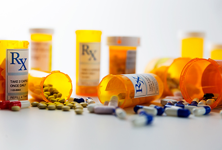 Multiple pills bottles for psychotherapy study