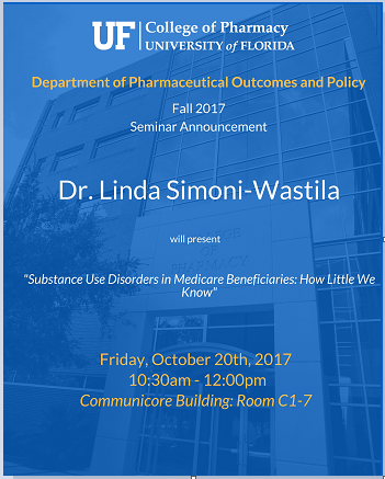 Announcement for Dr. Linda Simoni-Wastila's Seminar