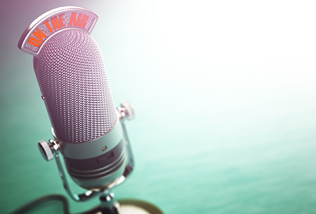 On the Air Microphone and green background