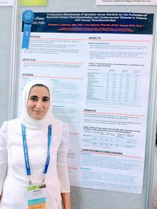 Ghadeer Dawwas, M.B.A., BSPharm, presents her research poster at ISPOR 2018.