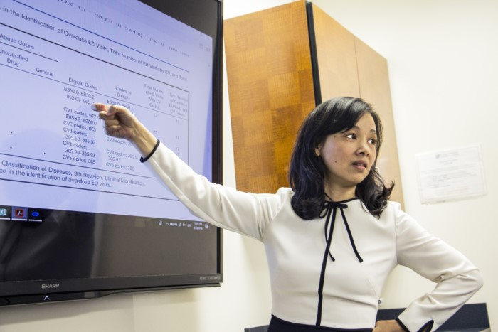 Dr. Jenny Wei discussing data with students