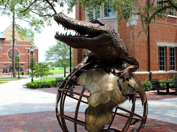 gator on a globe