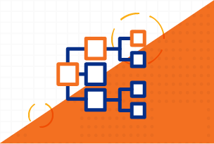 Pharmacoecnomics Icon; orange and blue flow chart
