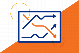 Pharmaceutical Health Services Icon; orange and blue graph