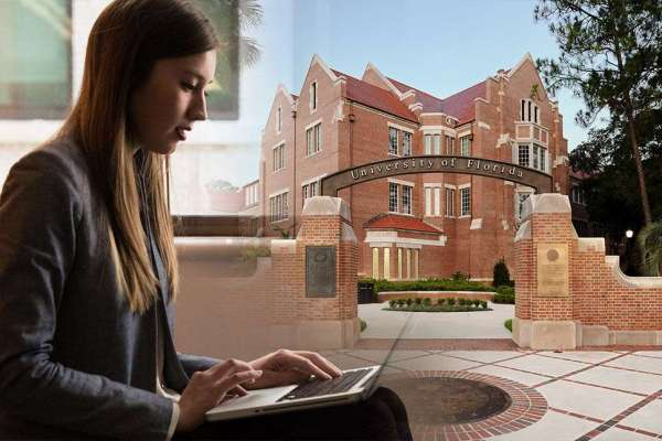 Composite image of woman on laptop with University of Florida archway