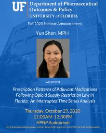 Yun Shen Seminar Announcement; Oct. 29, 2020
